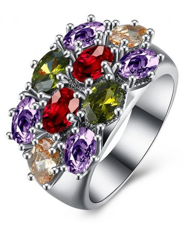 Noble Fake Gem Rhinestone Ring For Women