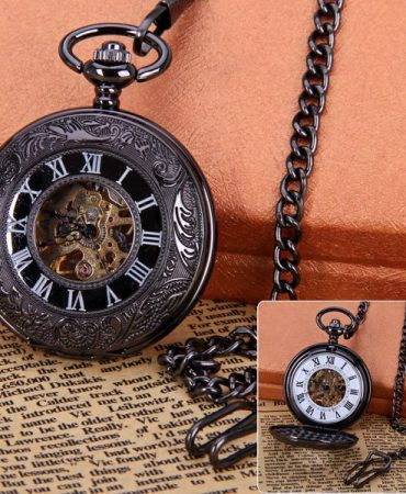 Brown Classic Mens Mechanical Pocket Watch