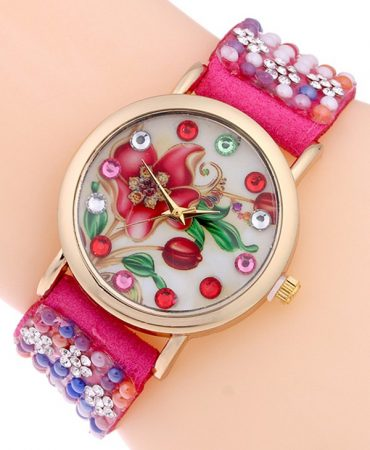 Floral Analog Leather Bracelet Womens Watch