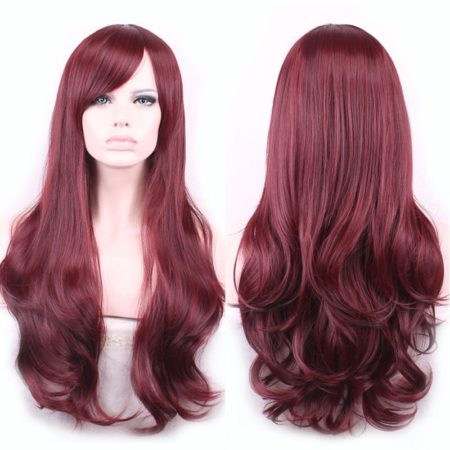 Wine Red Wavy Heat Resistant Long Synthetic Wig for Women