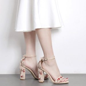 Canvas Chunky Heel Casual Floral Womens Sandals