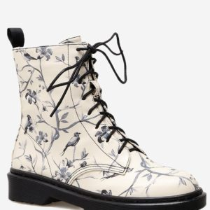 Fashion Floral Printed Fall Winter Trendy Womens Boots