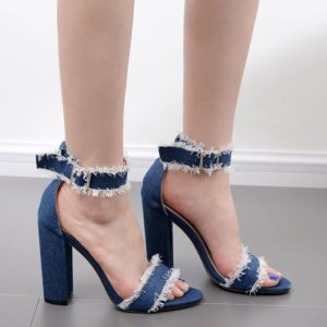 Fashion Solid Chunky Heel Womens Jeans Sandals