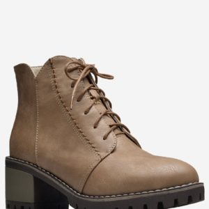 Solid Pu Leather Fashion Lace Up Womens Short Boots