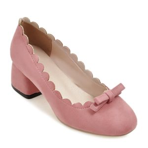 Bow Casual Suede Spring Fall Chunky Heel Pumps for Womens