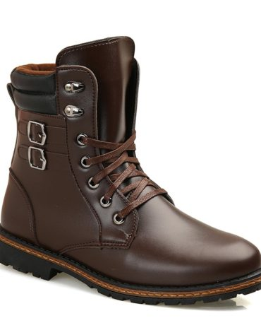 Fashionable Pu Leather Lace Up Mens Winter Boots