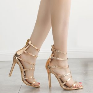 Patent Leather Fashion Party Buckle Strap Stiletto Heel Womens Sandals