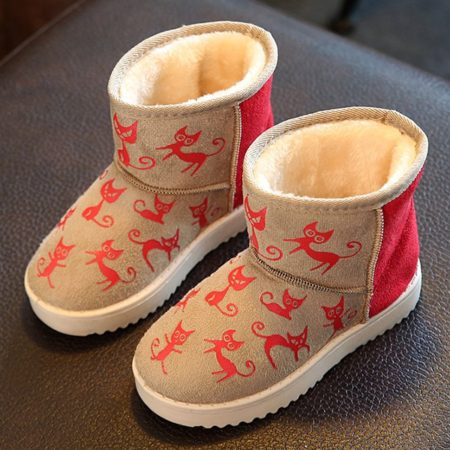 Winter Suede Printed Slip-On Trendy Snow Kids Boots