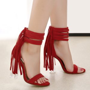 Rome Style Suede Fringed Chunky Heel Womens Sandals