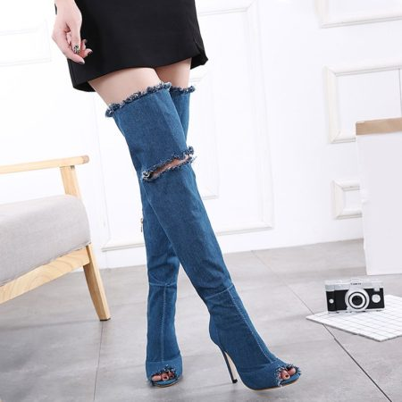 Casual Jeans Stiletto Heel Peep Toe Shoes