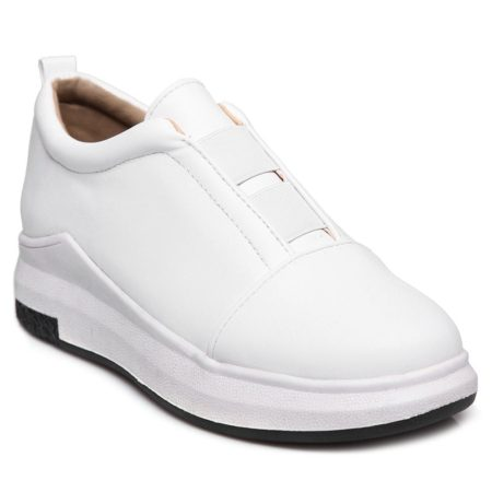 Pu Leather Casual White Trendy Platform Shoes