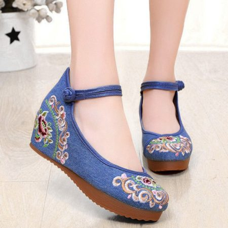 Flowers Design Casual Canvas Ankle Wedge Shoes