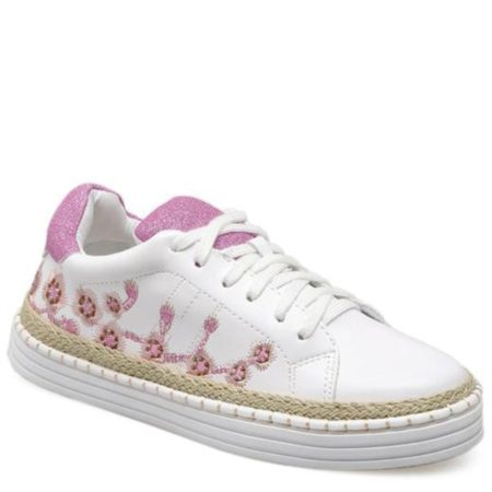 Floral Spring Fall Pu Leather Trendy Womens Sneakers
