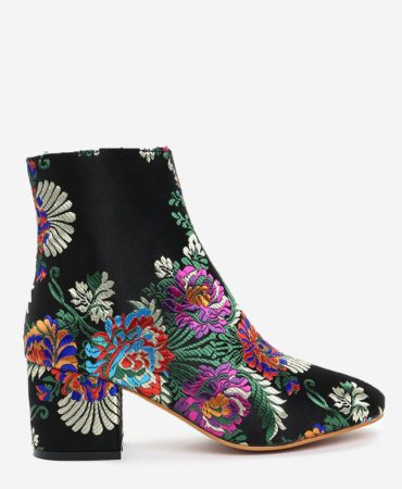 Fashion Satin Floral Chunky Heel Womens Ankle Boots