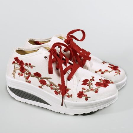Spring Fall Canvas Casual Lace Up Platform Shoes