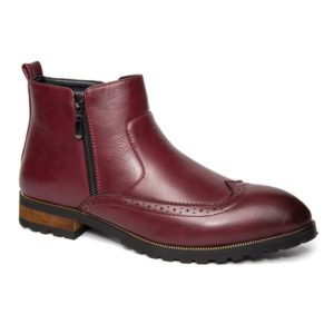Fashion Solid Pu Leather Fall Winter Ankle Mens Boots