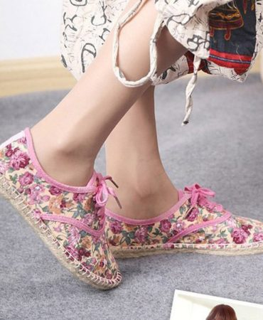 Floral Canvas Spring Summer Trendy Womens Flat Shoes