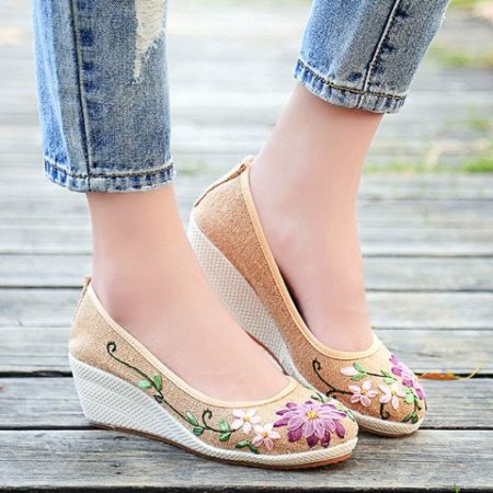 Spring Summer Canvas Floral Sexy Wedge Shoes