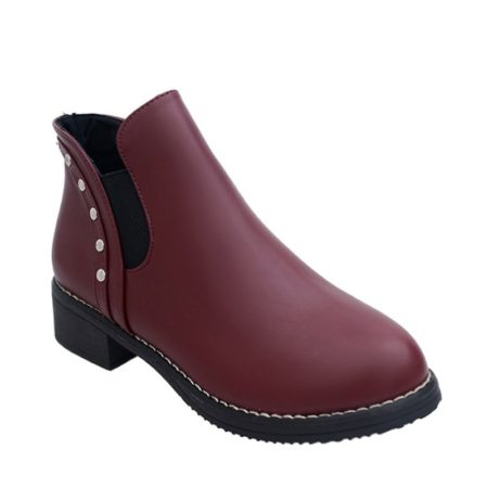 Fashion Slip-On Leisure Pu Leather Womens Winter Ankle Boots