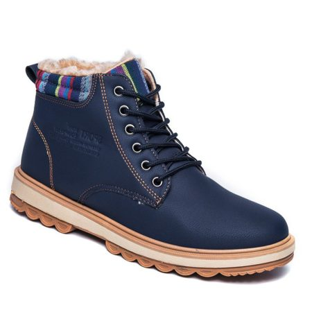 Solid Fashion Pu Leather Lace-Up Ankle Martin Boots for Men