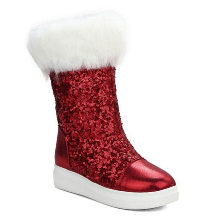 Fall Winter Sequined Mid-Calf Snow Boots