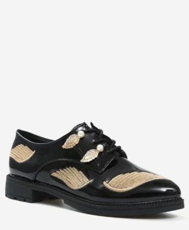 Golden Black Faux Pearl Patent Leather Fashion Trendy Womens Flat Shoes