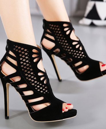 Casual Suede Hollow Out Spring Summer Peep Toe Sandals