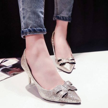 Bow Design Party Spring Summer Sequined Cloth Ladies Pumps