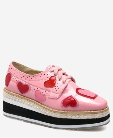 Spring Fall Casual Hearts Design Wedge Platform Shoes