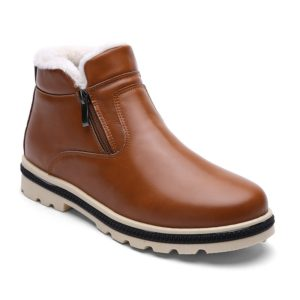 Winter Pu Leather Ankle Warm Work Mens Boots