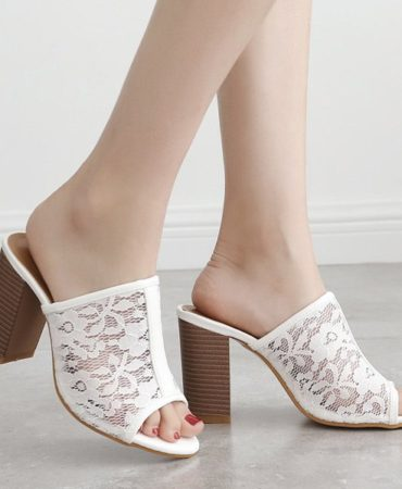 Summer Fashion Lace Outdoor Solid Chunky Heel Trendy Womens Slippers