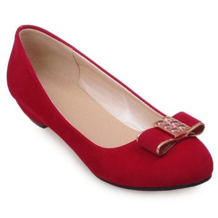 Red Suede Casual Bow Spring Summer Womens Flat Shoes