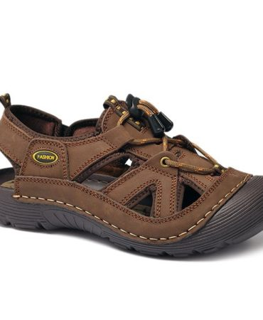 Casual Solid Pu Leather Mens Leisure Sandals