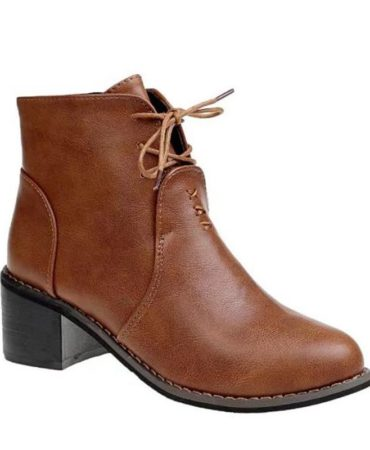 Pu Leather Spring Fall Solid Lace Up Fashion Trendy Womens Boots