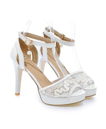Party Patent Leather Pearl Stiletto Heel Sandals for Women