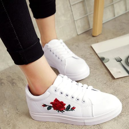 Spring Fall Pu Leather Floral Womens Athletic Shoes