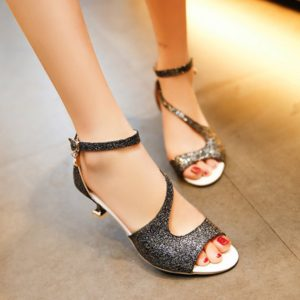 Casual Solid Sequined Fashion Ankle Strap Womens Sandals