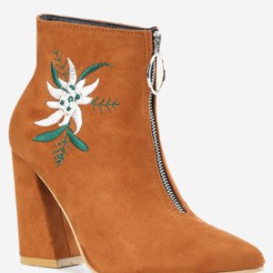 Fashion Fall Winter Suede Womens Chunky Heel Boots