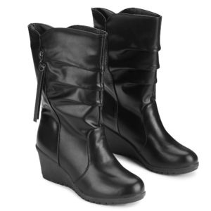 Solid Pu Leather Fashion Fall Winter Mid-Calf Womens Boots