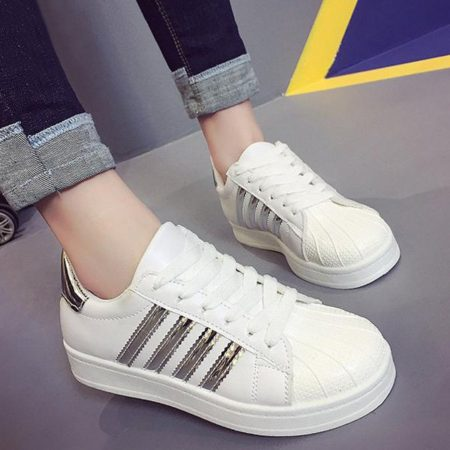 Spring Fall Pu Leather Striped Fashion Womens Athletic Shoes