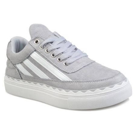 Suede Spring Fall Stripe Lace Up Trendy Womens Sneakers