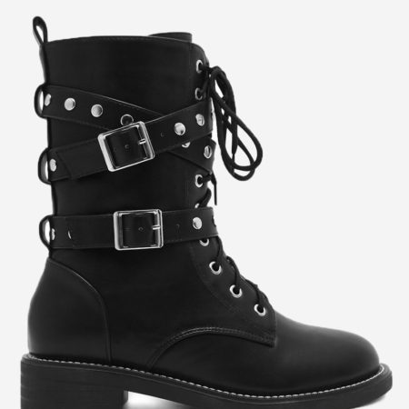 Fall Winter Pu Leather Chunky Heel Womens Motorcycle Boots