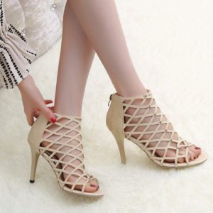 Fashion Flock Party Stiletto Heel Hollow Out Sandals