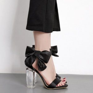 Casual Bow Pu Chunky Heel Ankle Strap Womens Sandals
