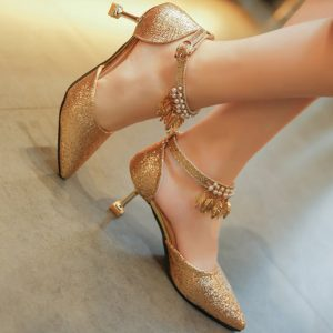 Casual Spring Summer Sequined Cloth Ankle Strap Womens Pumps