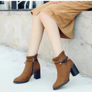 Solid Winter Chunky Heel Flock Ankle Boots for Womens