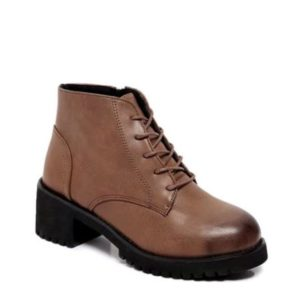 Pu Leather Solid Lace-Up Motorcycle Womens Martin Boots