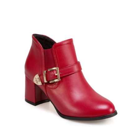 Solid Elastic Band Chunky Heel Buckle Fashionable Womens Boots