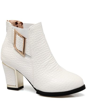 Fashion Winter Pu Leather Chunky Heel Party Womens Boots