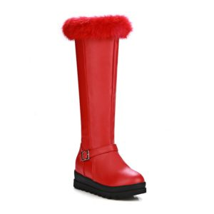 Solid Winter Fashion Knee-High Pu Leather Trendy Womens Boots